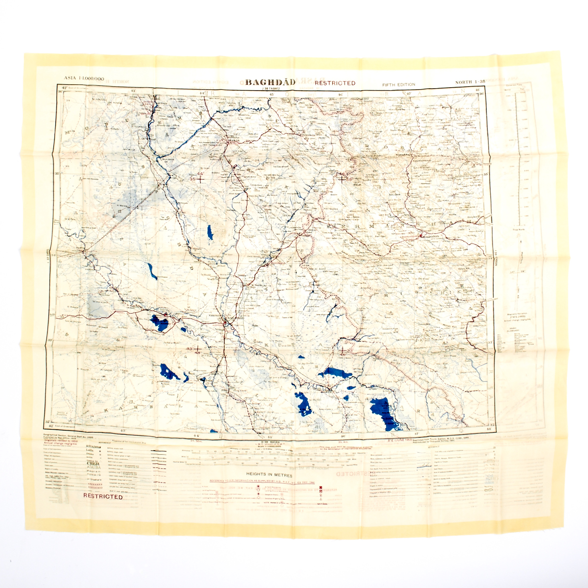 british gulf war fabric map of baghdad basra