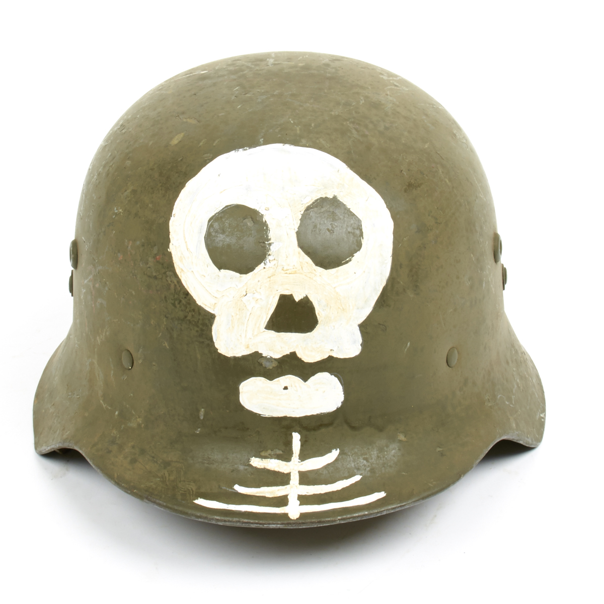Original wwii hungarian m38 steel helmet w finnish totenkopf size 7 3 8 59cm