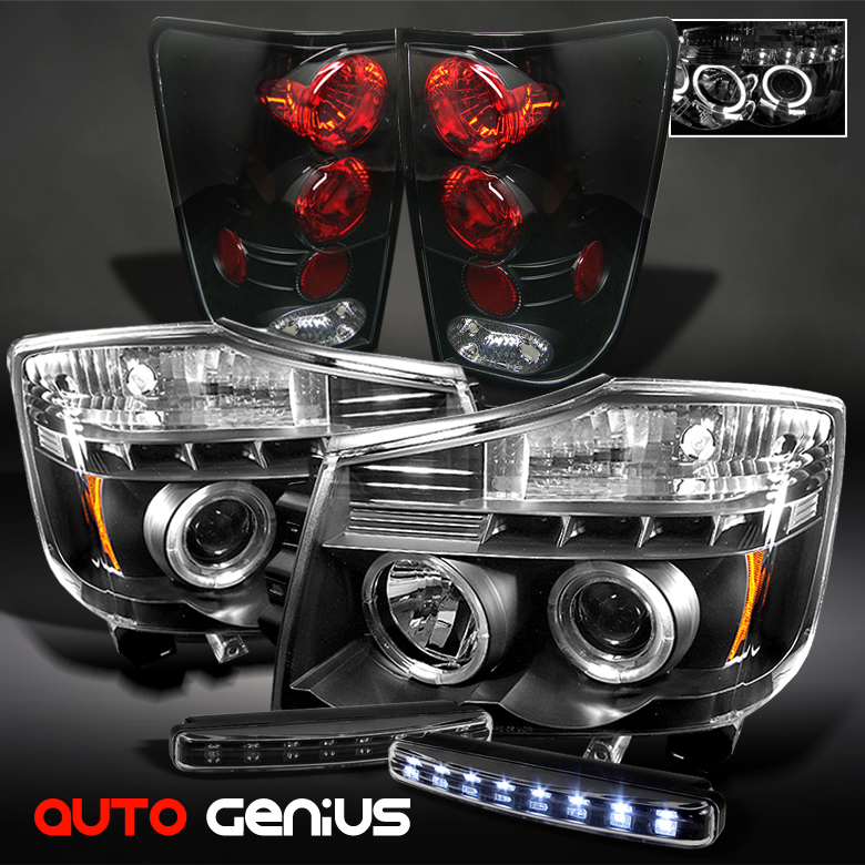 04 12 Titan Black Projector Headlights altezza Tail Lights Daytime LED DRL