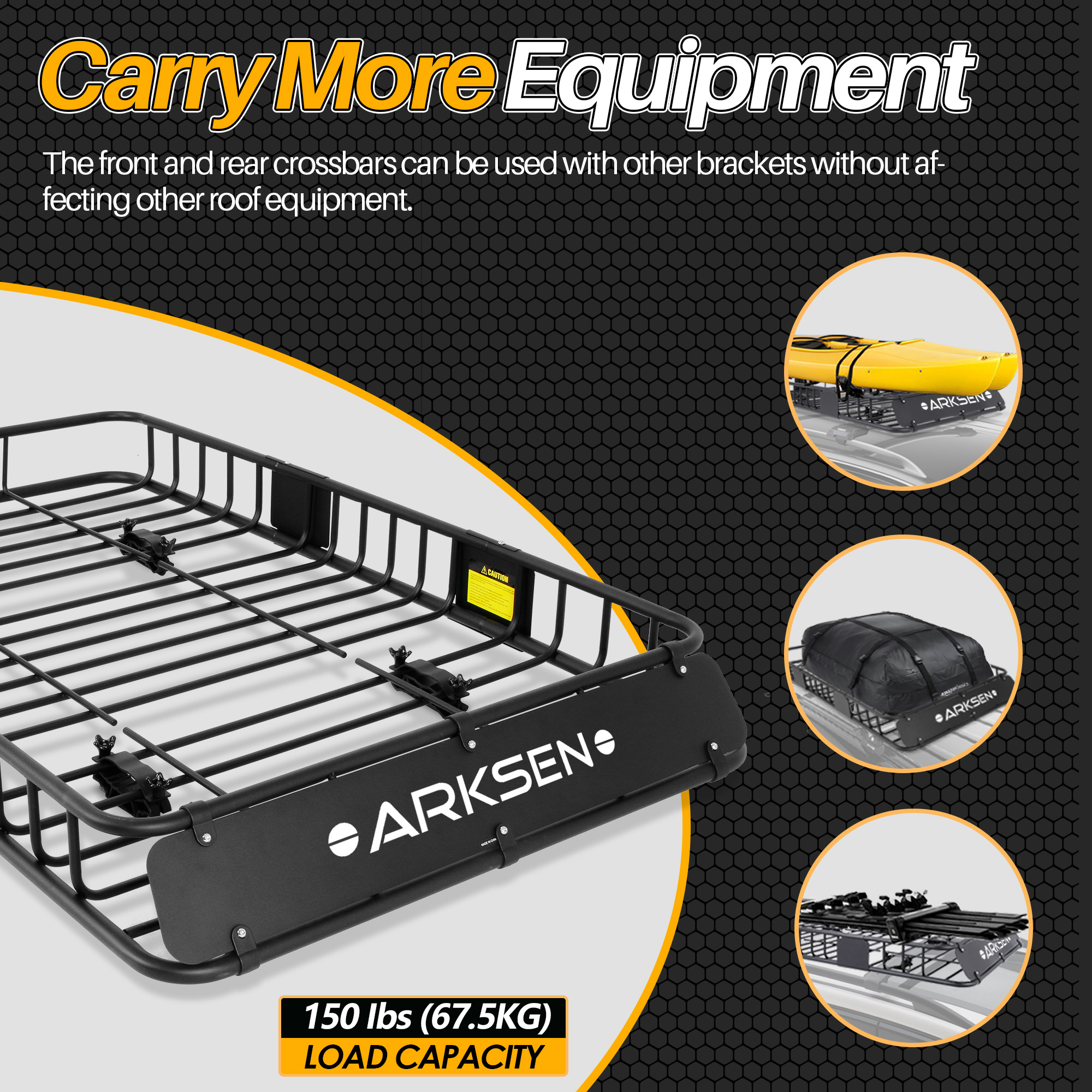 Black ARKSEN 64 Universal Roof Rack Cargo Extension with Cargo Net Car Top Luggage Holder Carrier Basket SUV Camping