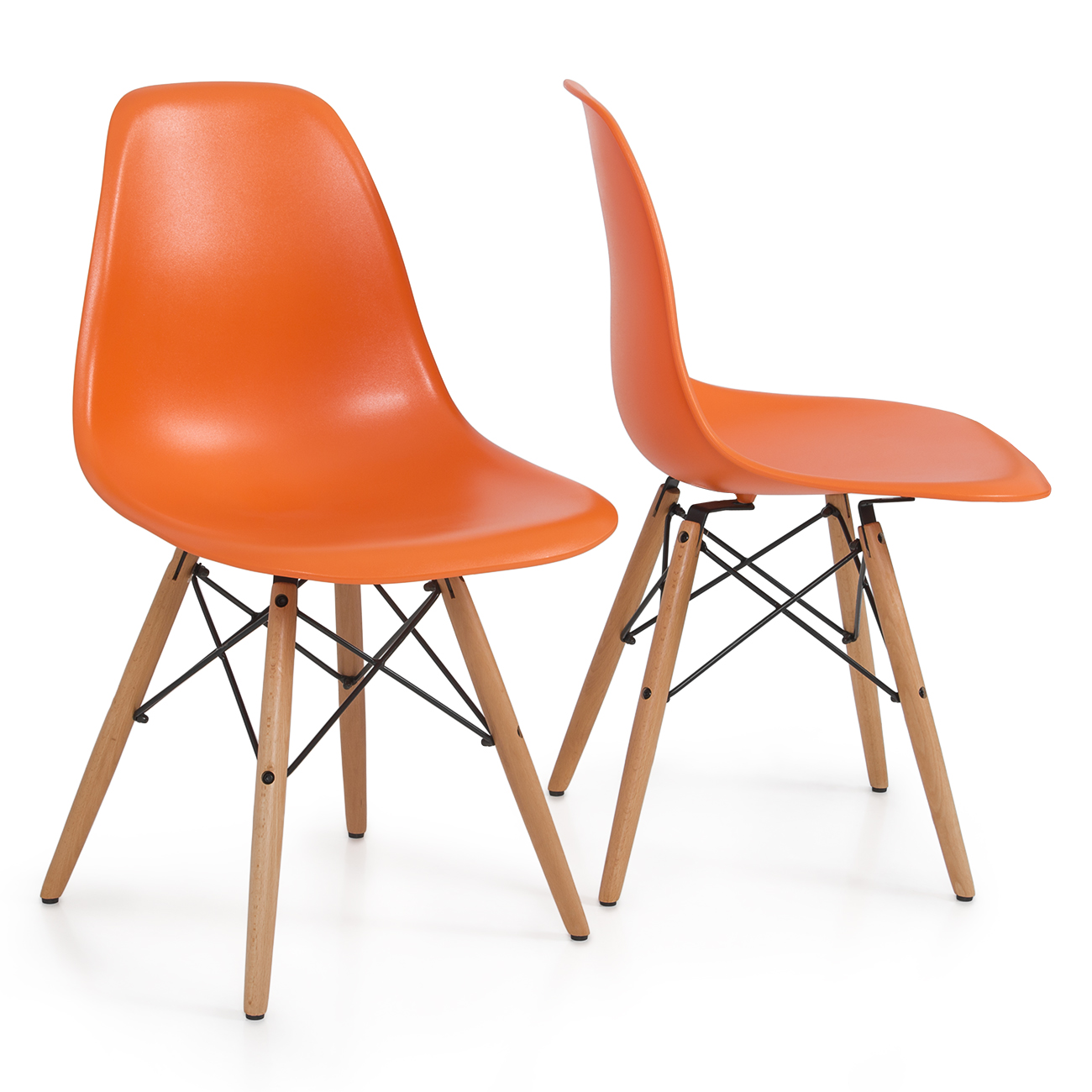modern chair plastic. Set Of 2 Orange Armless Plastic Molded Side Dining Chair Modern Natural Wood Leg R