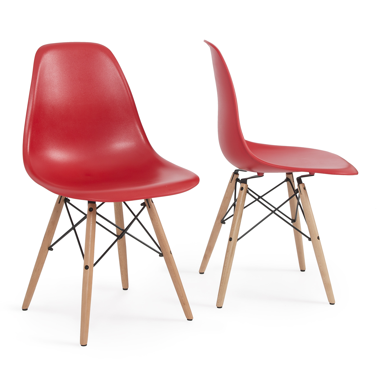 style dsw wood base mid century modern shell dining side chair set of 2 ebay. Black Bedroom Furniture Sets. Home Design Ideas