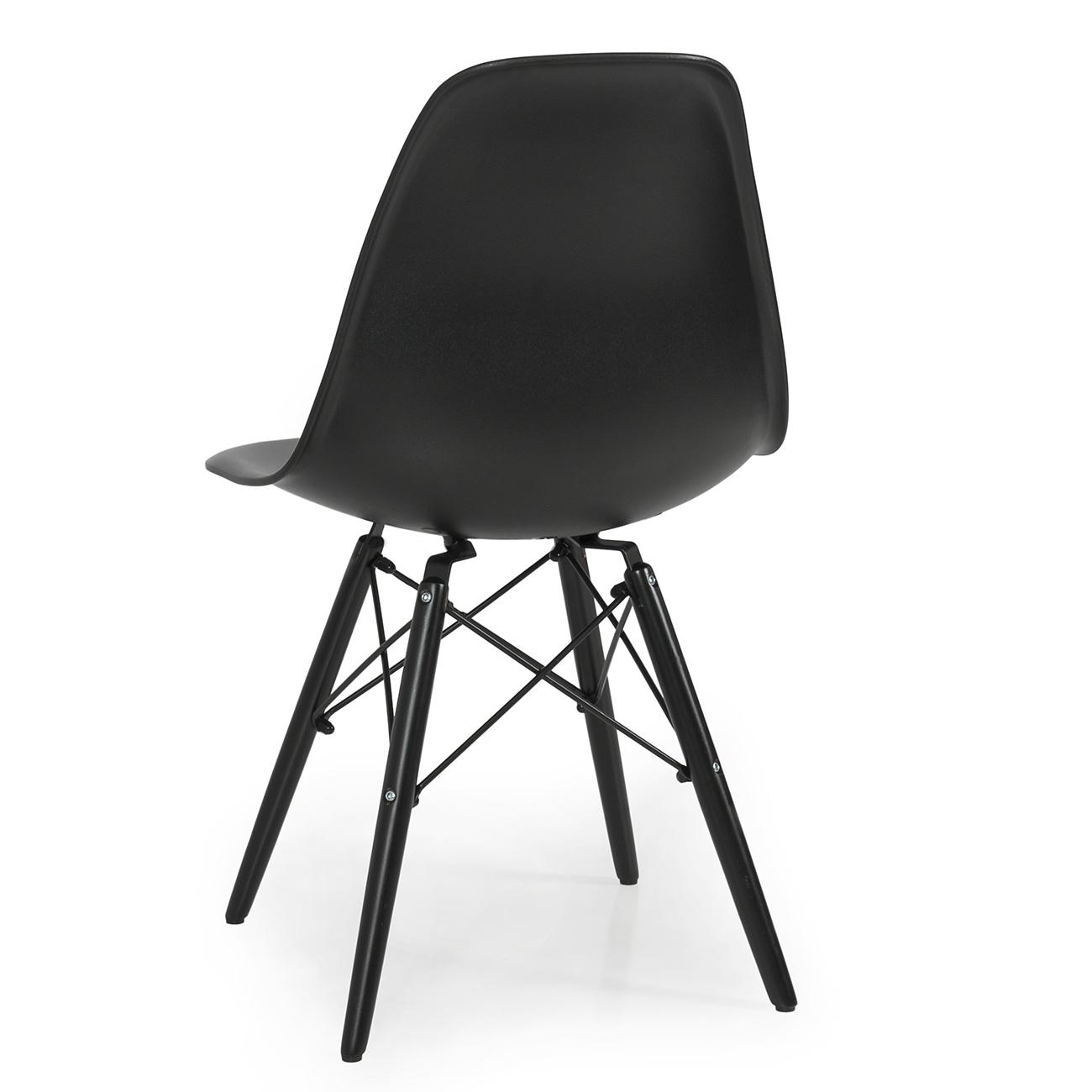 set of 4 mid century modern eames style dsw dining side chair wood leg black ebay. Black Bedroom Furniture Sets. Home Design Ideas