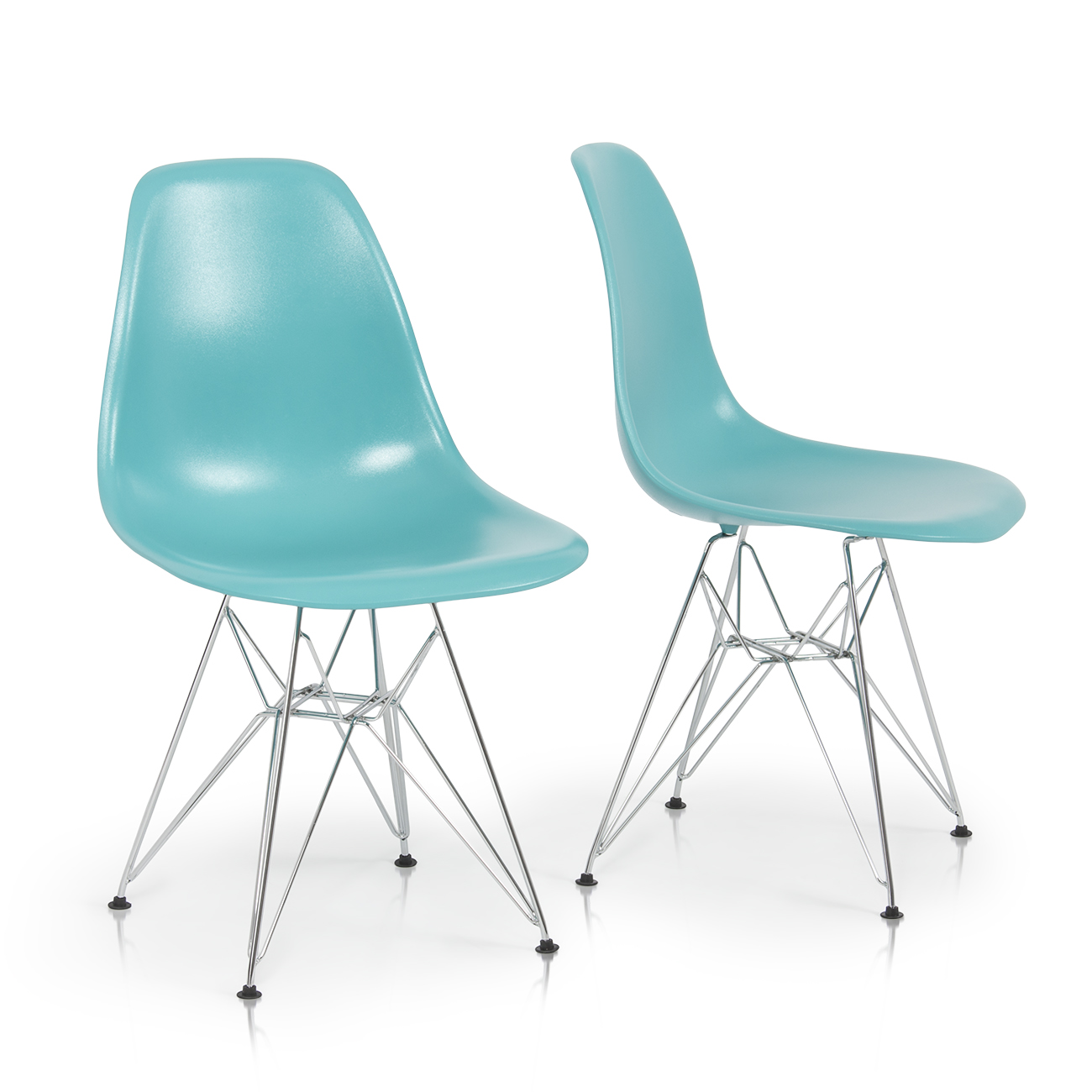 2x style dsw modern eiffel side chair molded abs plastic for Plastic modern chairs