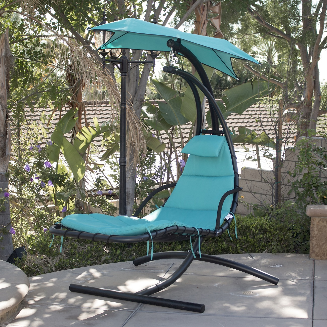Hanging-Chaise-Lounger-Chair-Arc-Stand-Air-Porch- & Hanging Chaise Lounger Chair Arc Stand Air Porch Swing Hammock ...