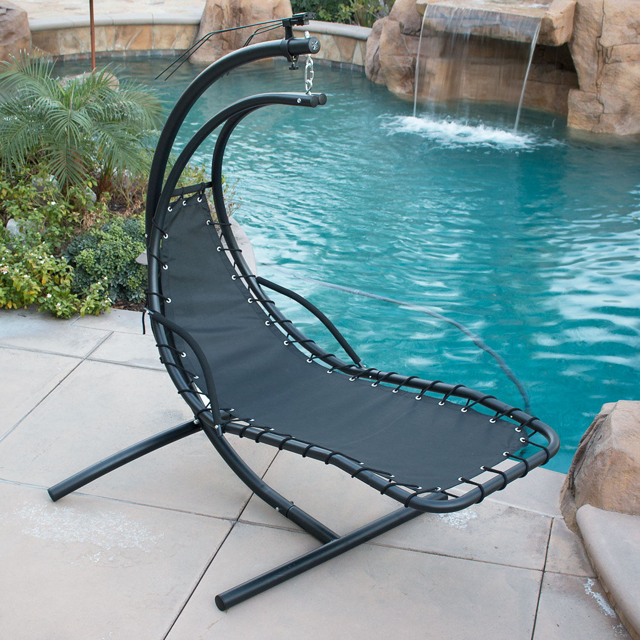 Hanging Chaise Lounger Chair Arc Stand Air Porch Swing ...