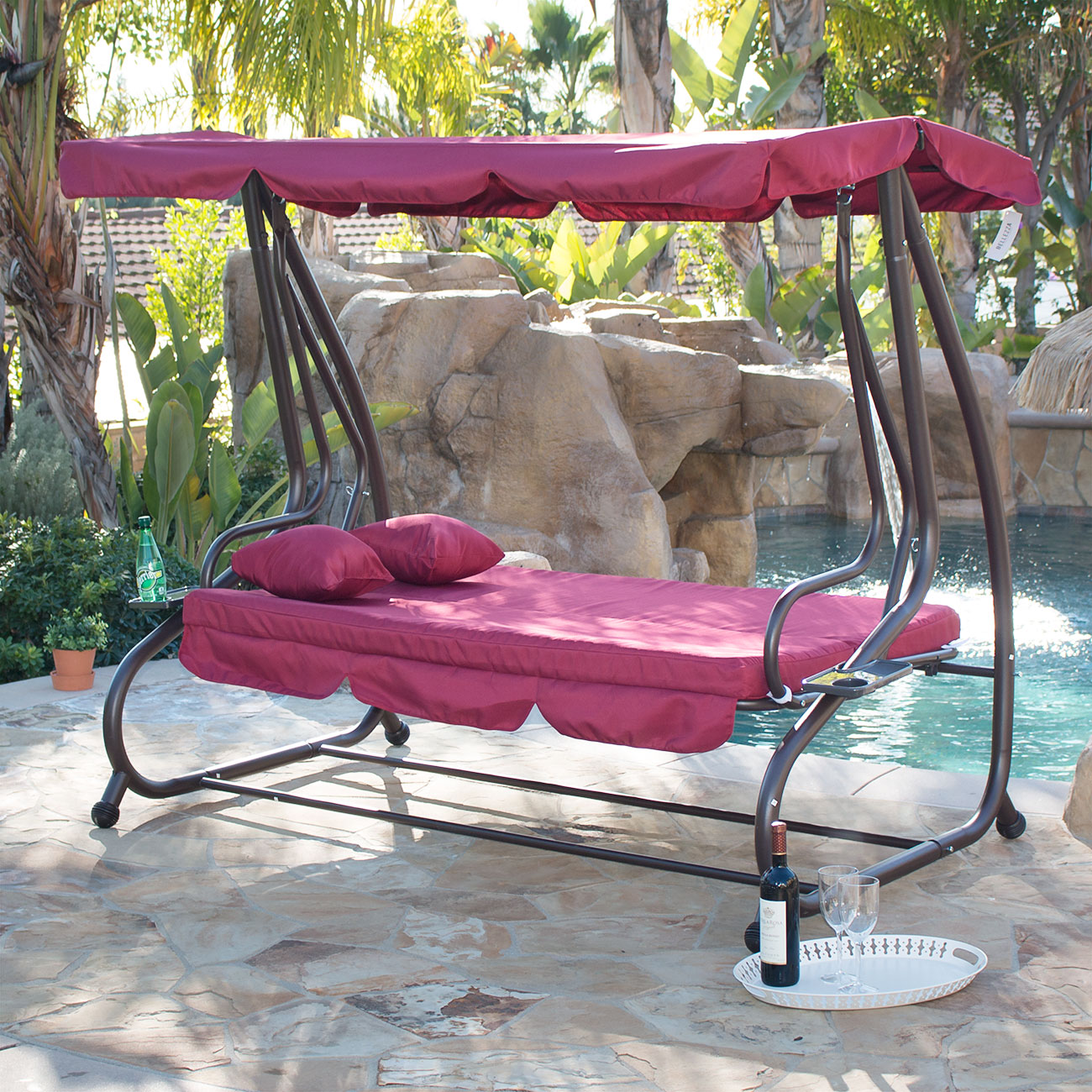 Outdoor Canopy Swing/Bed Patio Deck Garden Porch Seat Furniture Chair Burgundy & Outdoor Canopy Swing/Bed Patio Deck Garden Porch Seat Furniture ...