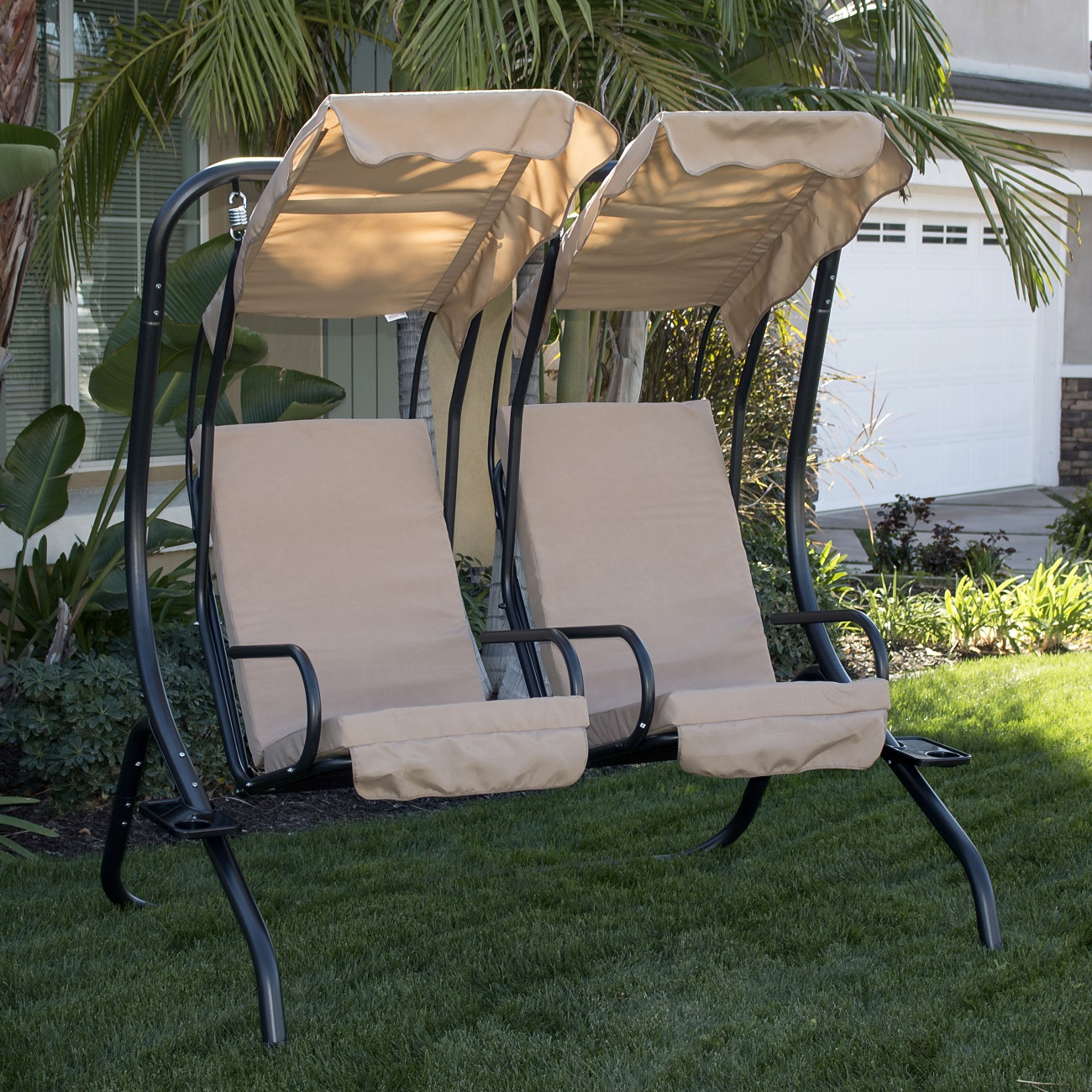 New Outdoor Double Swing Set 2 Person Canopy Patio