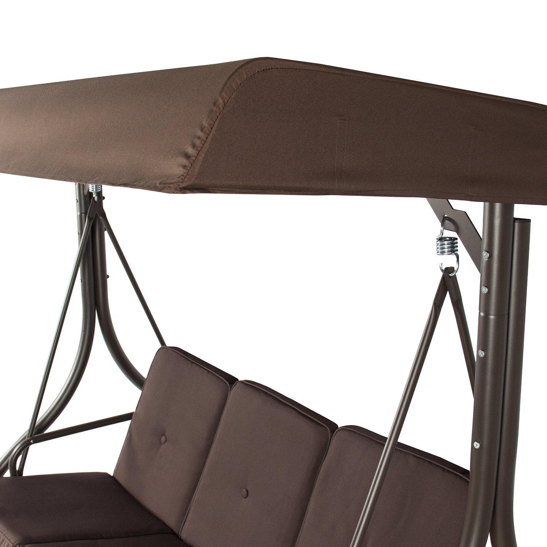 Outdoor 3 Person Patio Porch Swing Hammock Bench Canopy