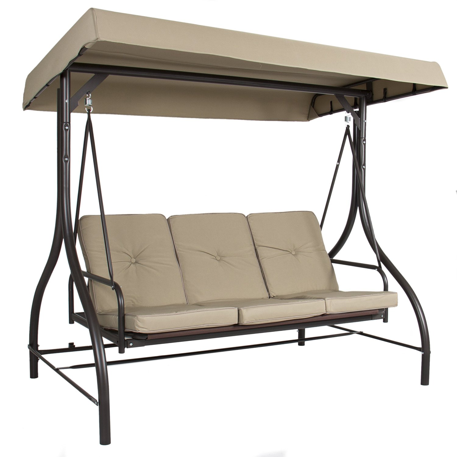 Outdoor-3-Person-Patio-Porch-Swing-Hammock-Bench-  sc 1 st  eBay & Outdoor 3-Person Patio Porch Swing Hammock Bench Canopy Loveseat ...
