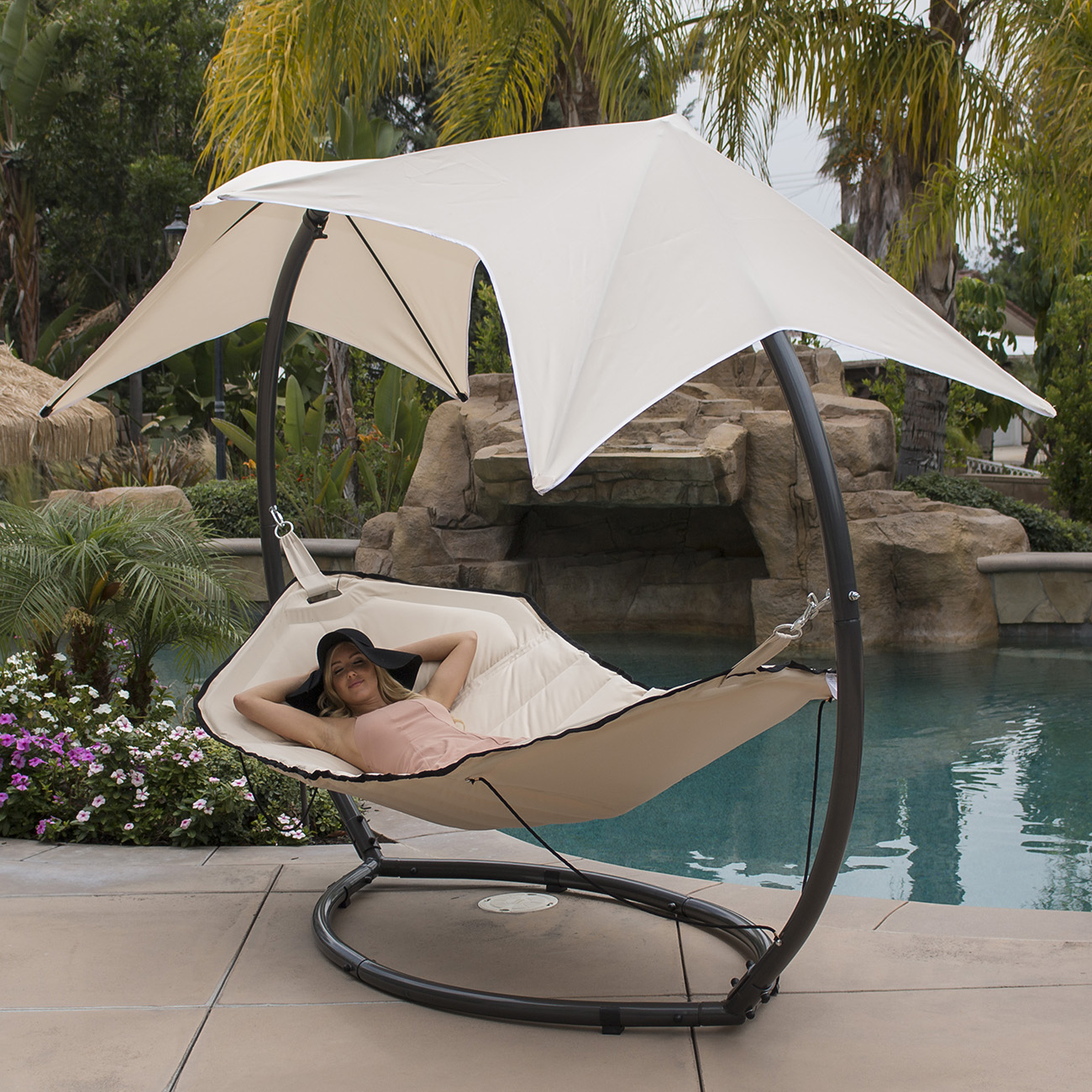 Patio Hammock W Sunroof Canopy Outdoor Swing Backyard
