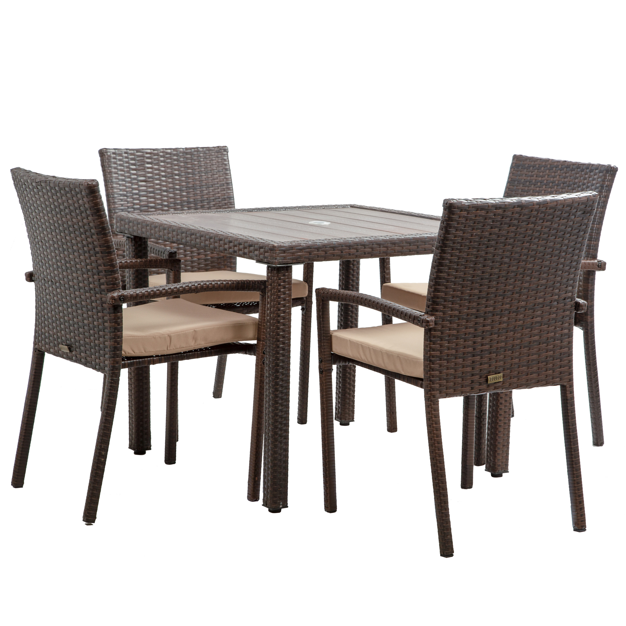 Wicker Patio Dining Set Table And Cushioned Chairs 2 Colors Brown Grey For Sale Online