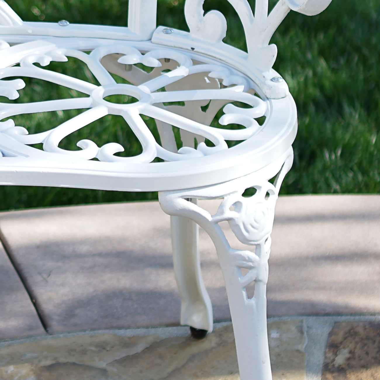 Rose Style Love Seat Bench White Cast Iron Antique