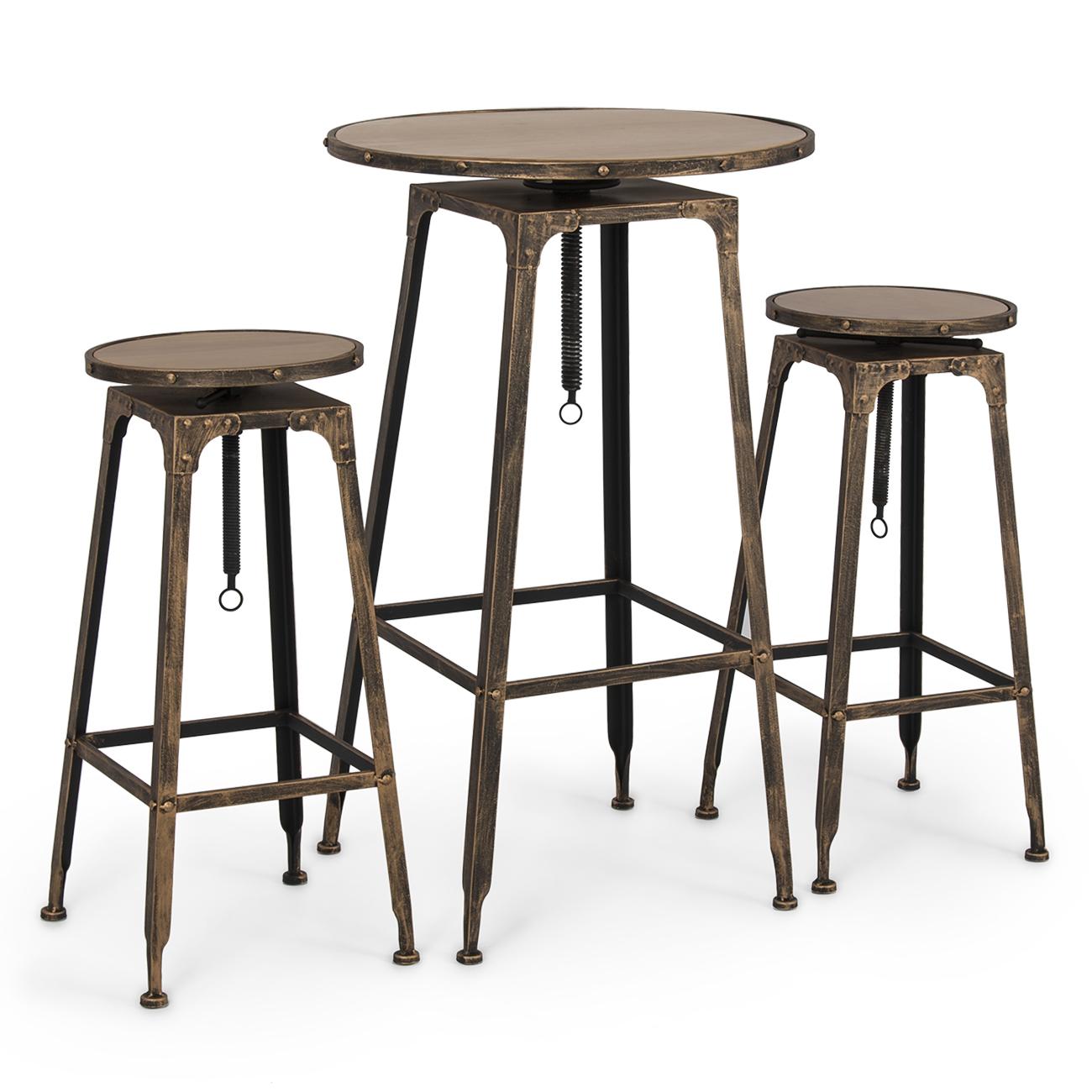 pc adjustable pub table w stools vintage antique bistro high  - pc adjustable pub table w stools vintage antique bistro high industrialset