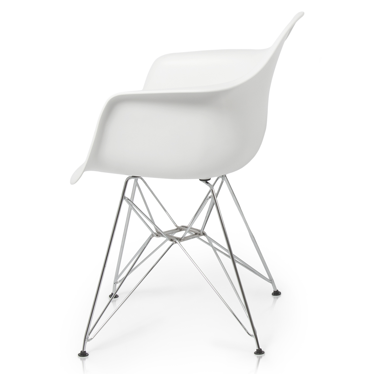 Set Of 2 White Eiffel Style Plastic Dinning Arm Chairs Wire Leg Steel Base