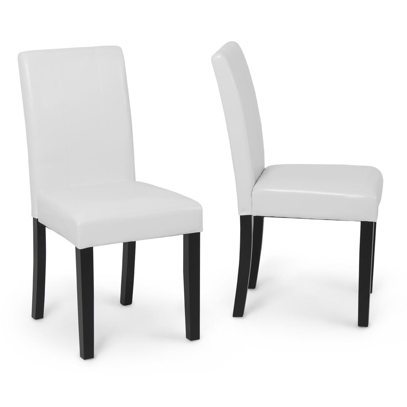 Set Of 2 Elegant Design Modern White Leather Parson Dining