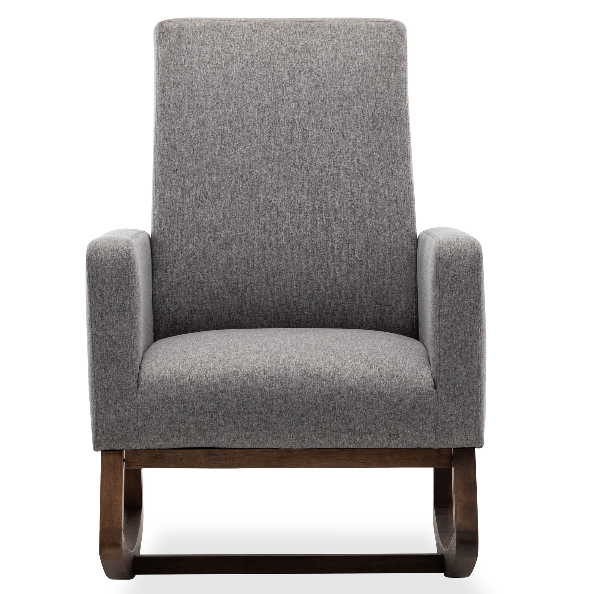 Details About Gray Living Room Rocking Chair Upholstered Fabric High Back Armchair Padded Seat