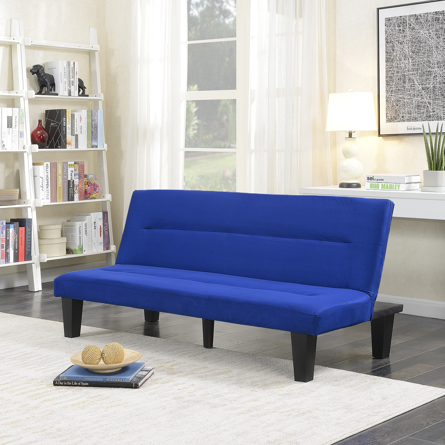 Microfiber Futon Folding Couch Sofa Bed Sleep Recliner Lounger Low Seat Blue 846183162599 Ebay