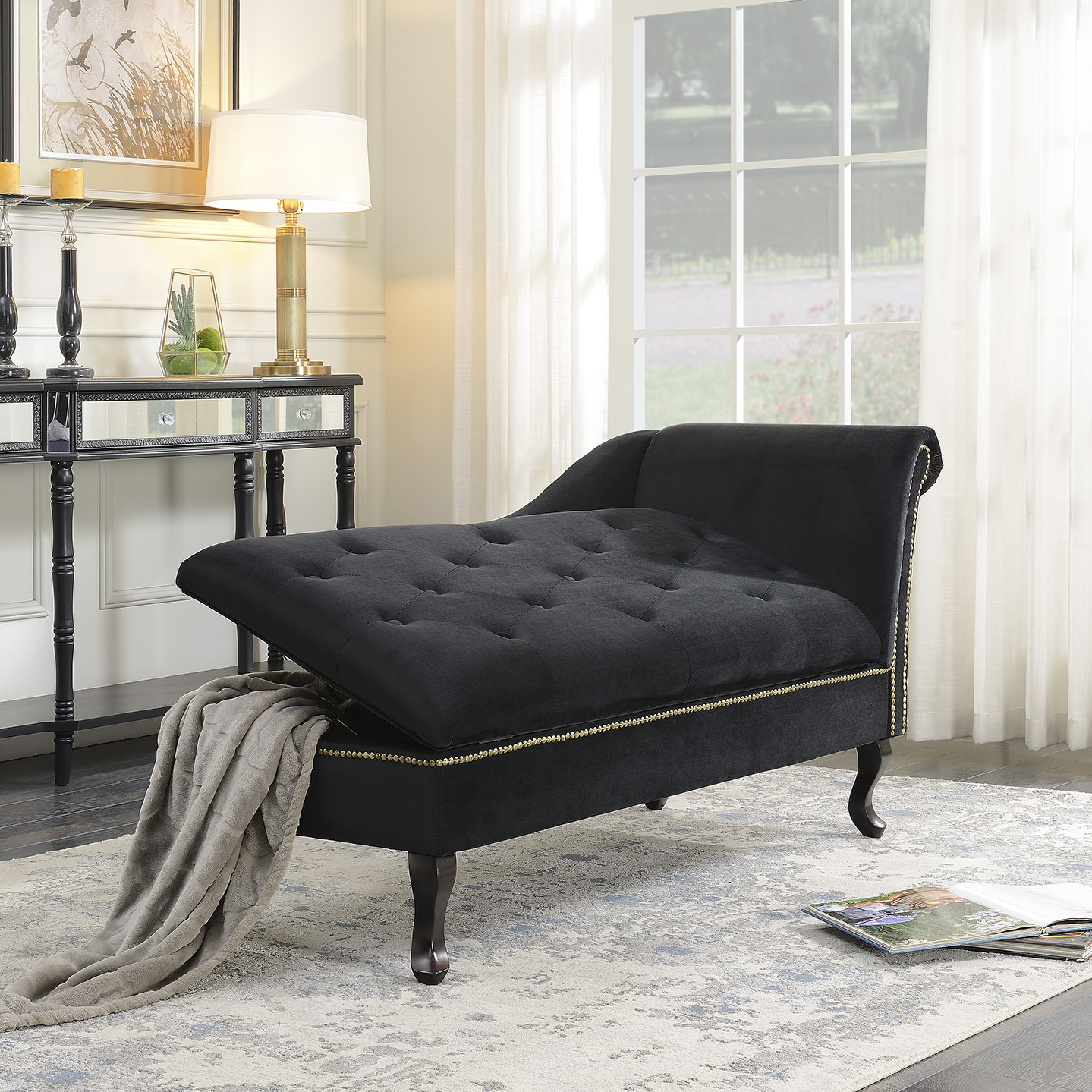 - Velveteen Button Tufted Storage Chaise Lounge Chair Couch For