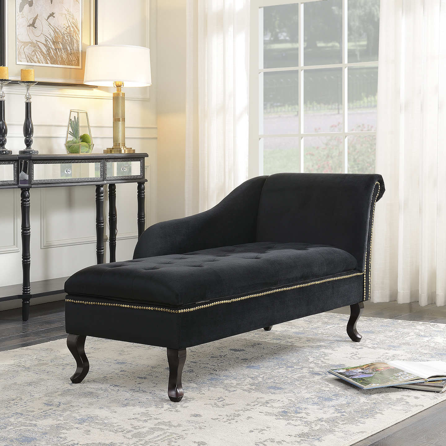 Velveteen Button Tufted Storage Chaise Lounge Chair Couch For Living Room,  Black