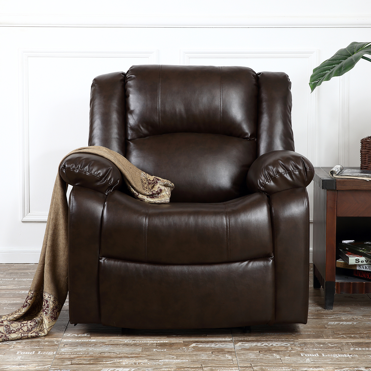 Recliner Chair Deluxe Club Large Overstuffed Cushion Faux Leather Padded Brown & Recliner Chair Deluxe Club Large Overstuffed Cushion Faux Leather ... islam-shia.org