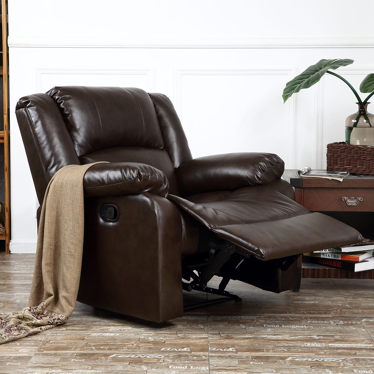 Details about Recliner Chairs For Living Room Dark Brown / Black Leather  Upholstered Furniture
