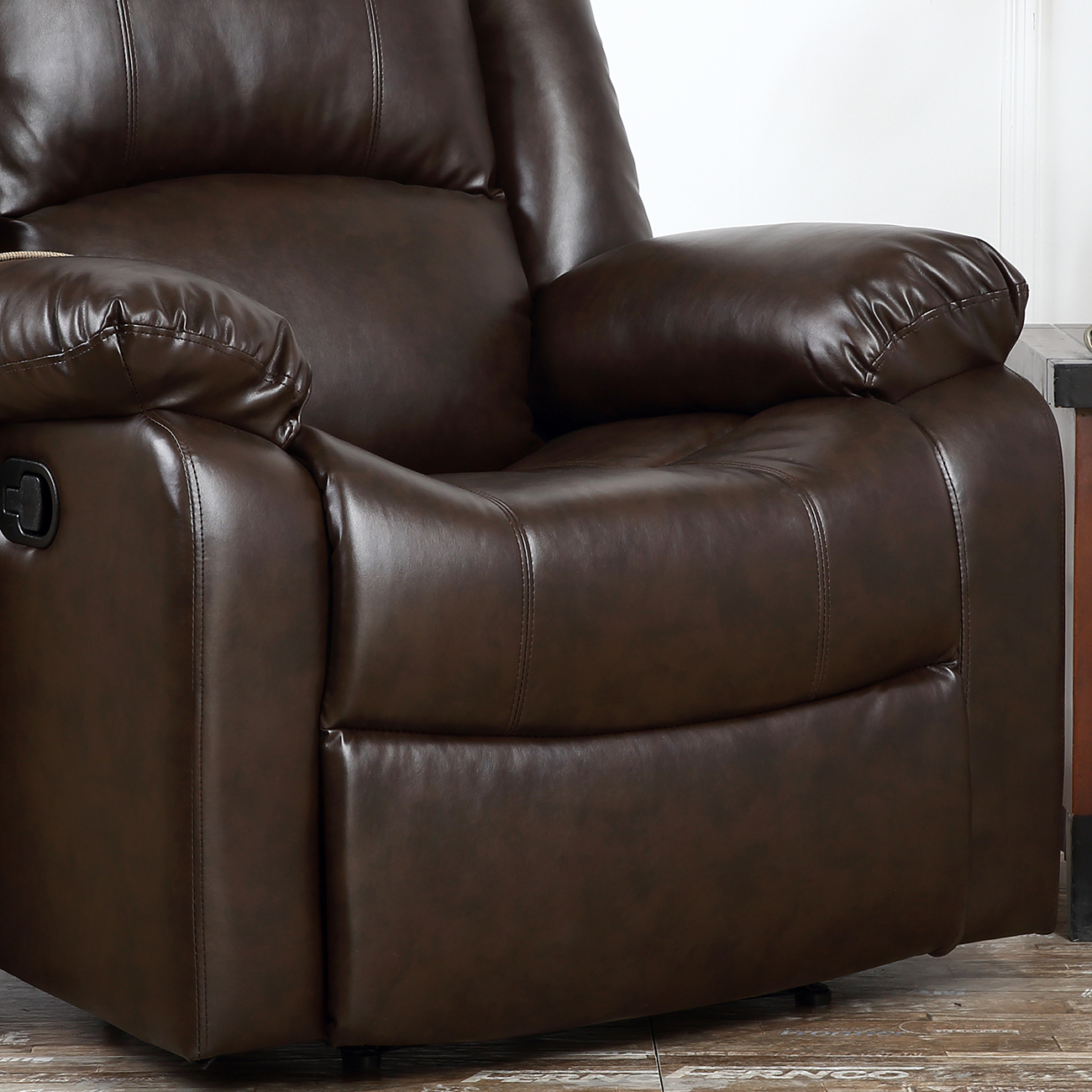 Recliner Chairs For Living Room Dark Brown Black Leather Upholstered Furniture Ebay