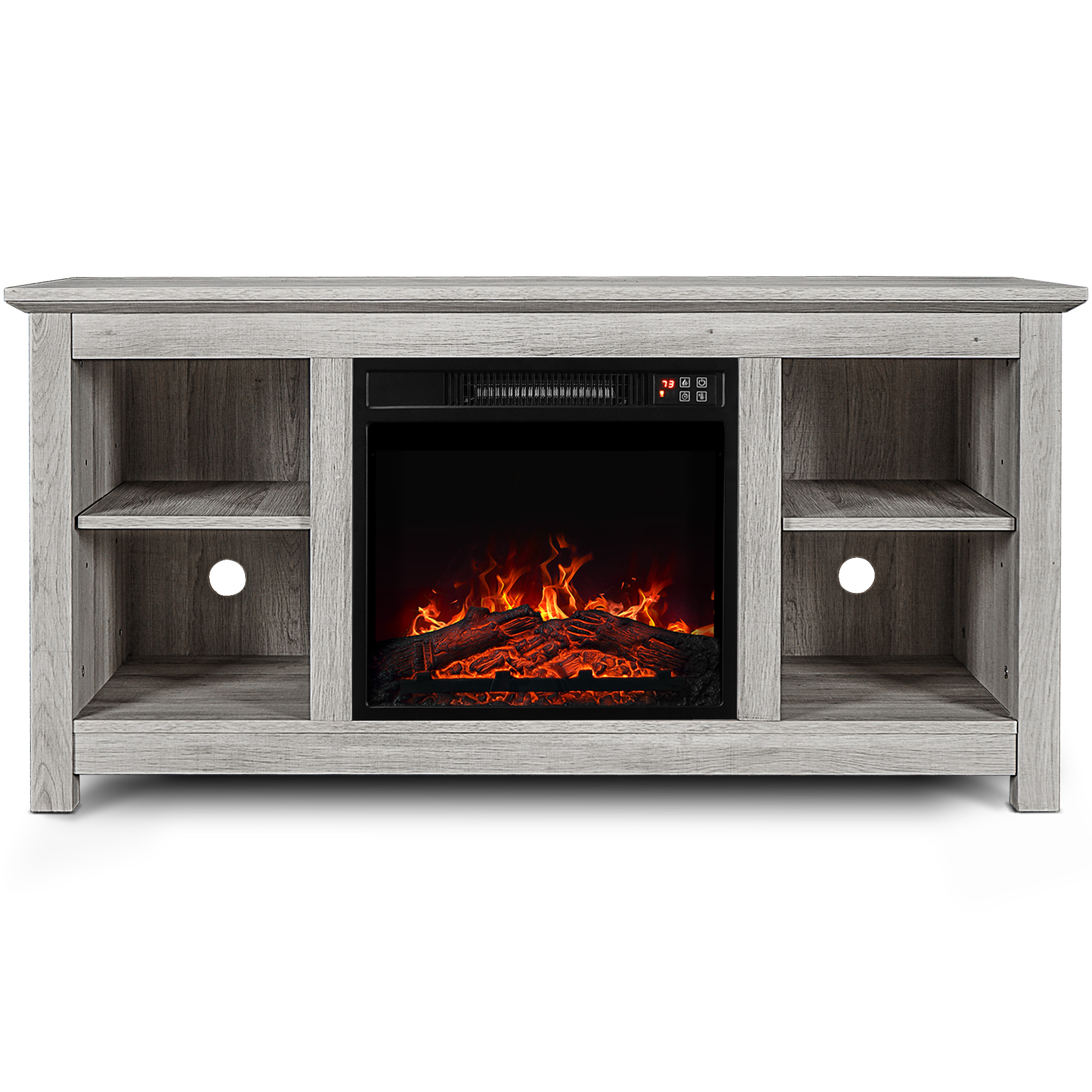 """50"""" Kenton Wood Fireplace Heater TV Stand Console For TV's U"""