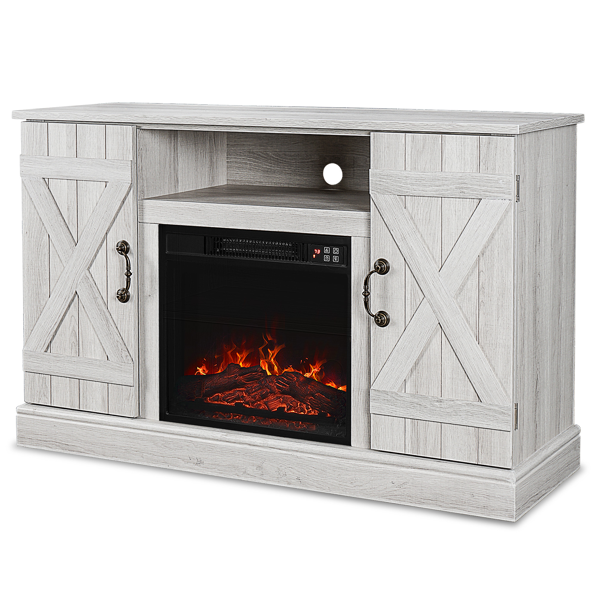 """46"""" Rustic Wood Sargent Oak TV Stand Fireplace Heater ..."""