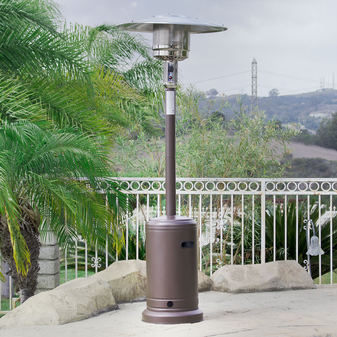 steel patio stainless lp heaters outdoor design heater images commercial fabulous backyard propane gas