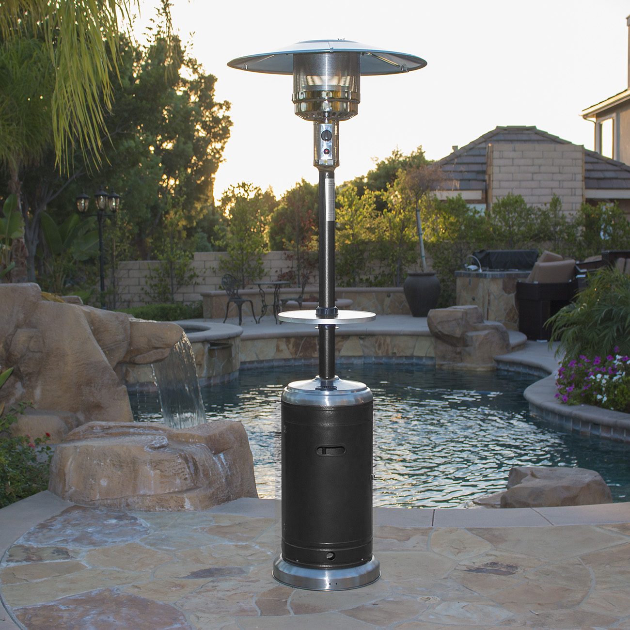 48000 BTU Hammered Black Propane Two Tone Patio Heater Deck and Table LP Gas & 48000 BTU Hammered Black Propane Two Tone Patio Heater Deck and ...