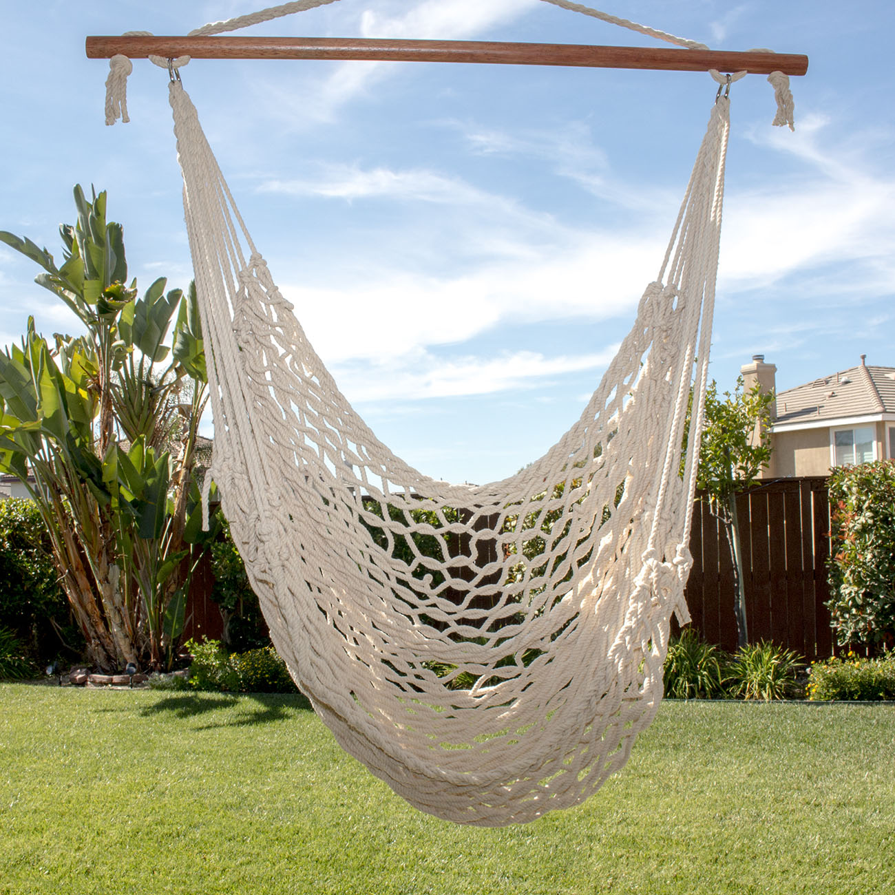 Deluxe Cotton Hammock Rope Chair Patio Porch ...