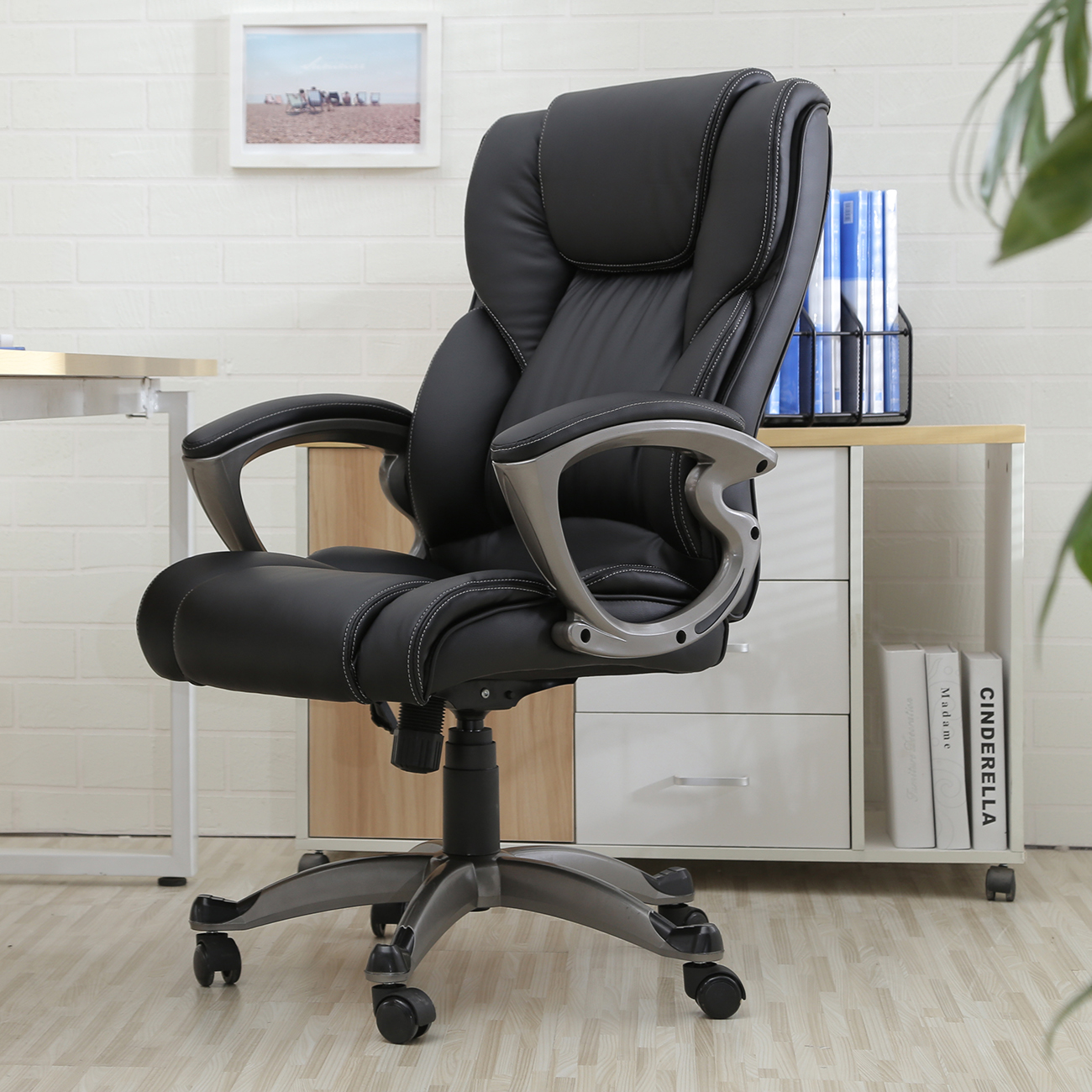 black pu leather high back office chair executive task. Black Bedroom Furniture Sets. Home Design Ideas