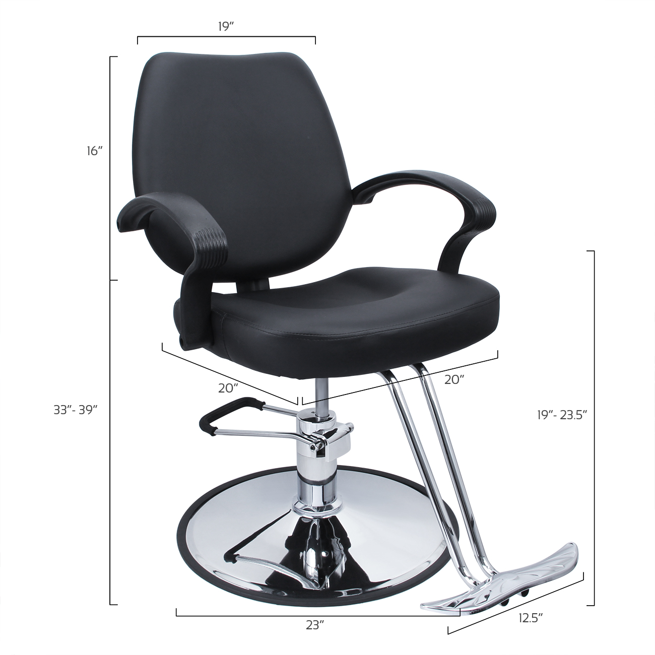 classic hydraulic barber chair salon beauty spa hair styling black w