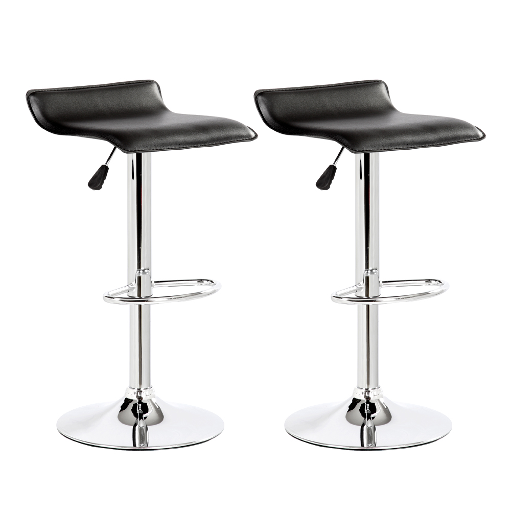 2pc Modern Bar Stools Pu Leather Adjustable Swivel