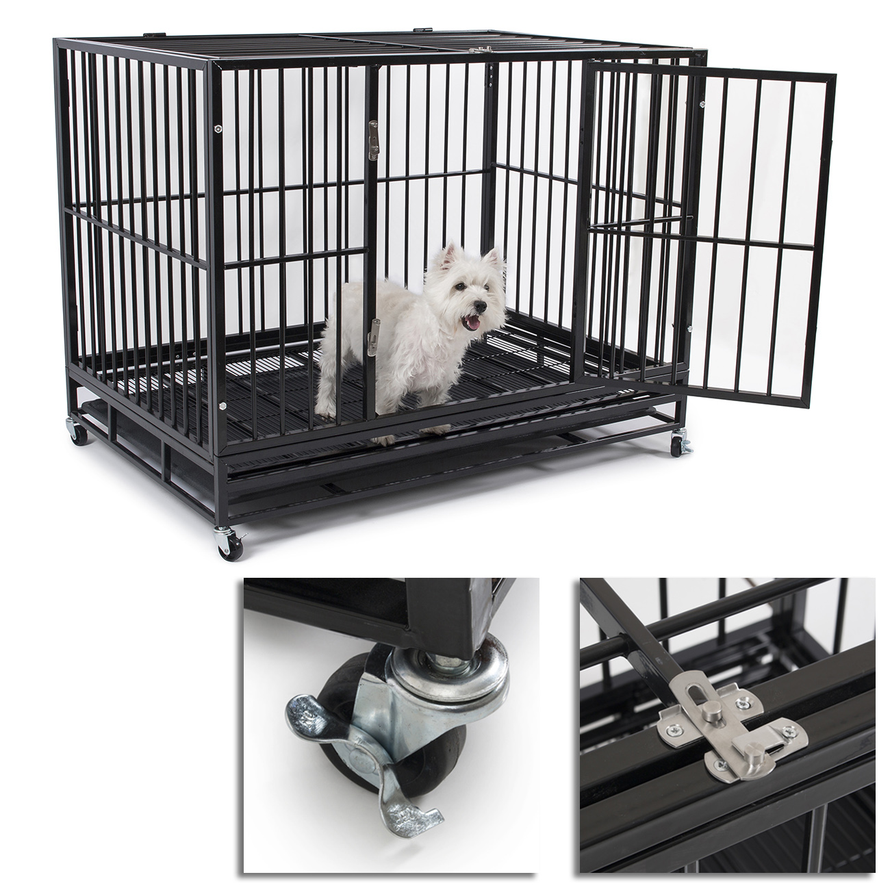 New 49 Heavy Duty Strong Metal Pet Dog Cat Cage Crate