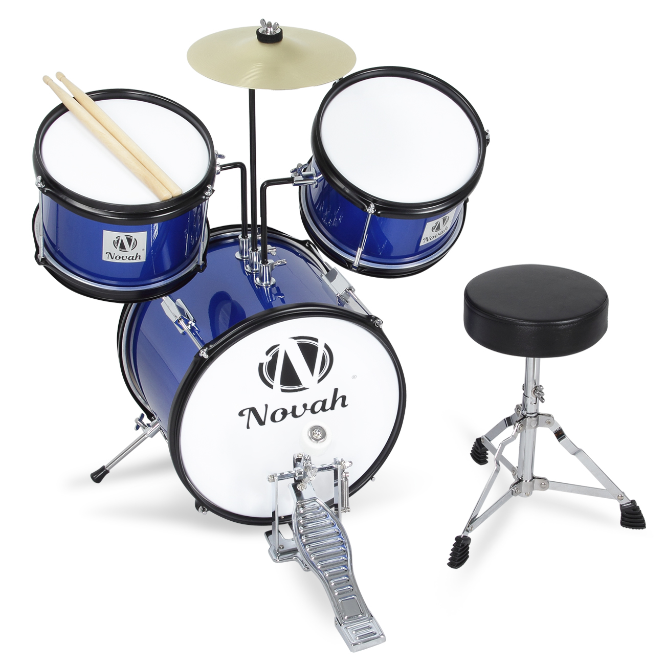 Drum Set 3 Piece Junior Complete Child Kids Kit With Stool
