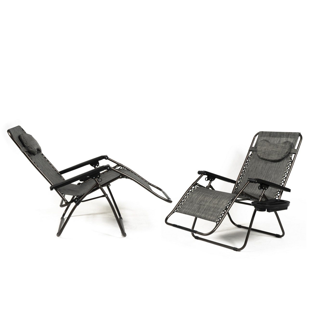 New set of 2 zero gravity chair xl oversize chairs outdoor recliner w tray ebay - Oversized zero gravity lounge chair ...