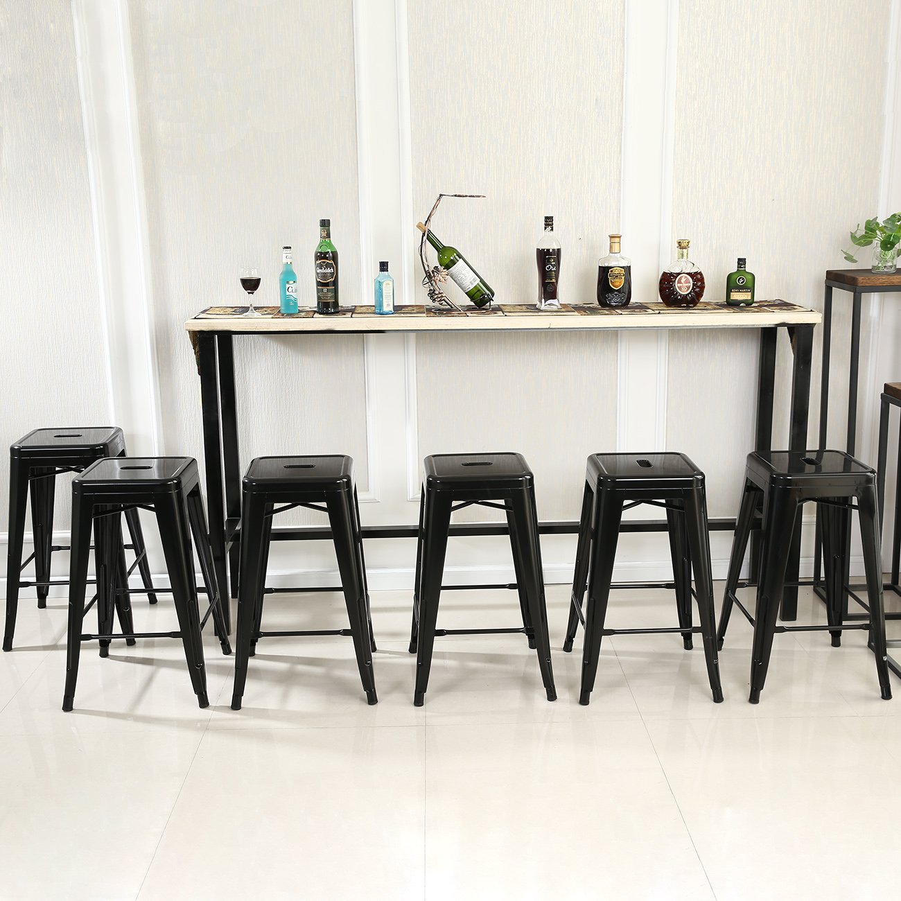 Metal Bar Stools Set Of (6) Vintage Antique Style Counter