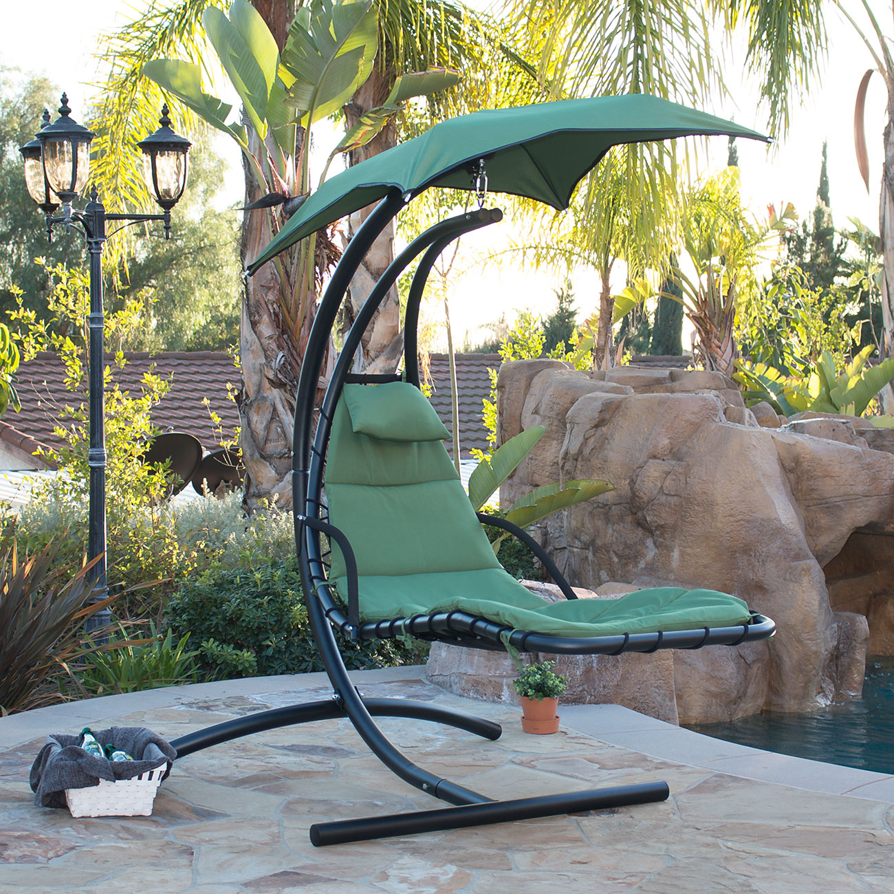 Patio Hammock: Hanging Chaise Lounge Chair Hammock Swing Canopy Glider