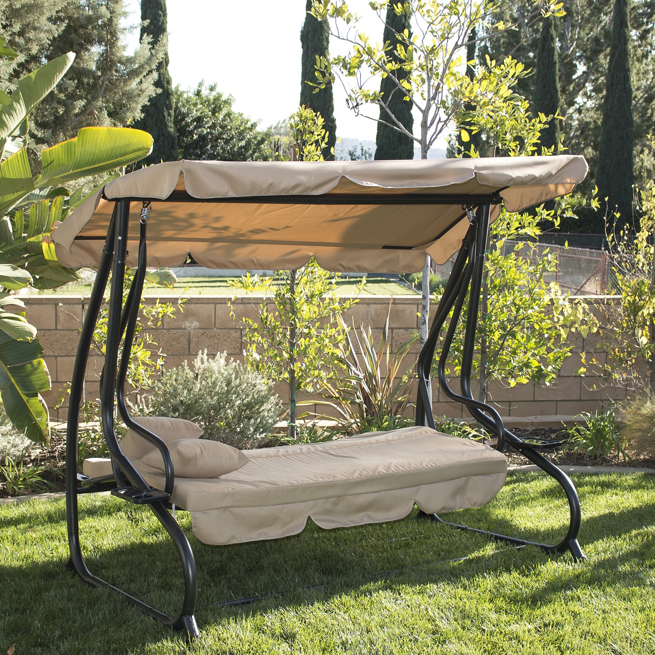 Outdoor Swing Bench: 3 Person Outdoor Swing W/Canopy Seat Patio Hammock