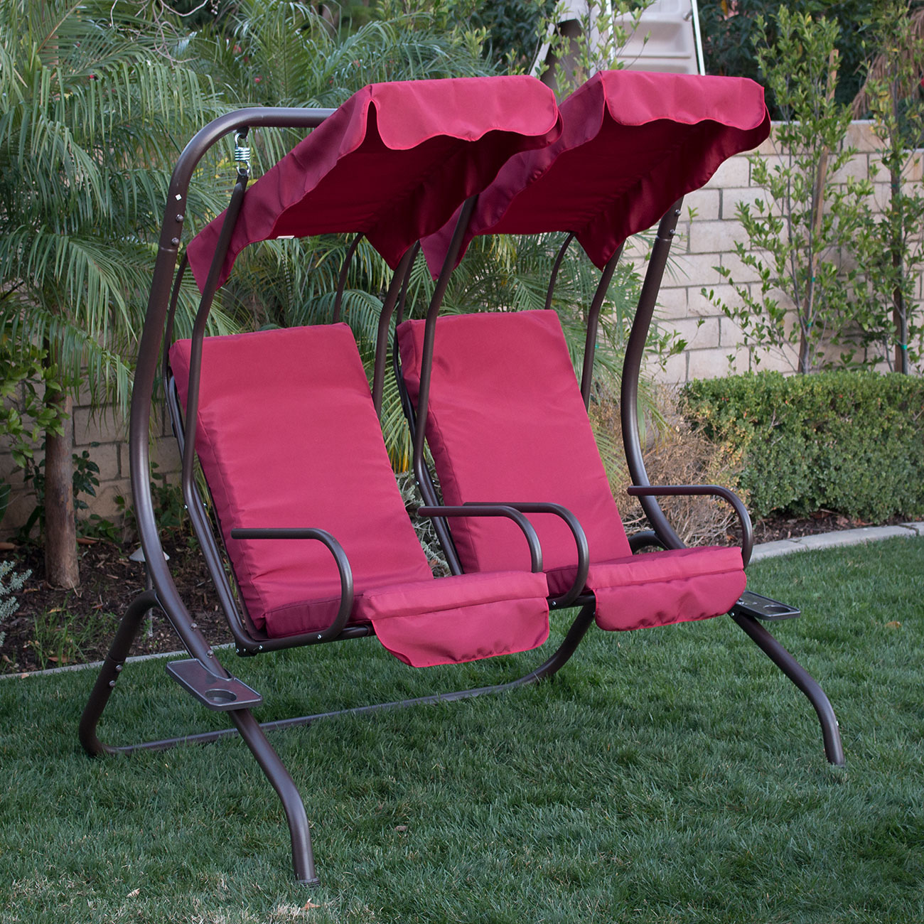 NEW-Outdoor-Swing-Set-2-Person-Patio-Frame- & NEW Outdoor Swing Set 2-Person Patio Frame Padded Seat Furniture ...