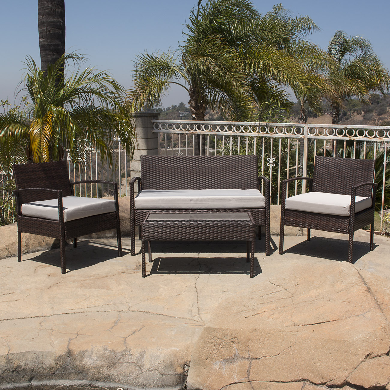 4PC Rattan Wicker Patio Furniture Set Sofa Chair +Table