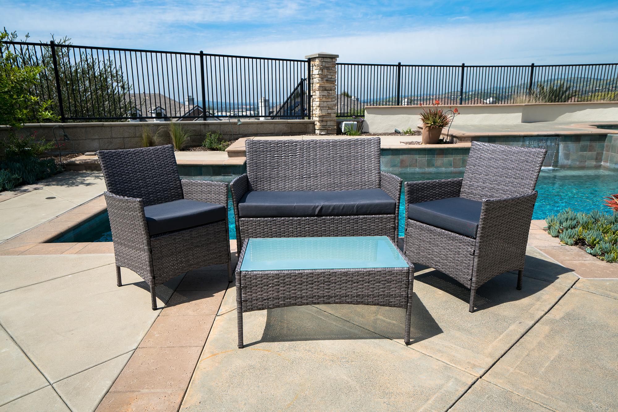 4pc Patio Furniture Set PE Wicker Cushioned Outdoor Rattan Sofa