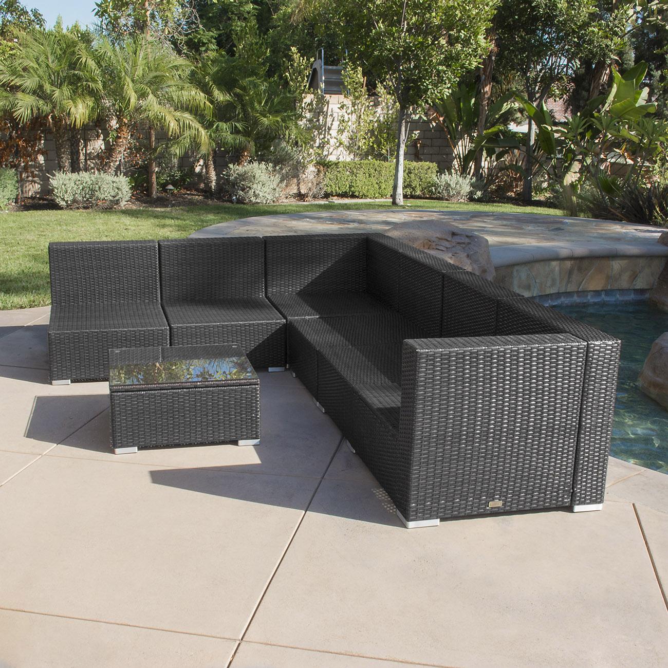 7pc outdoor patio rattan wicker furniture aluminum sectional