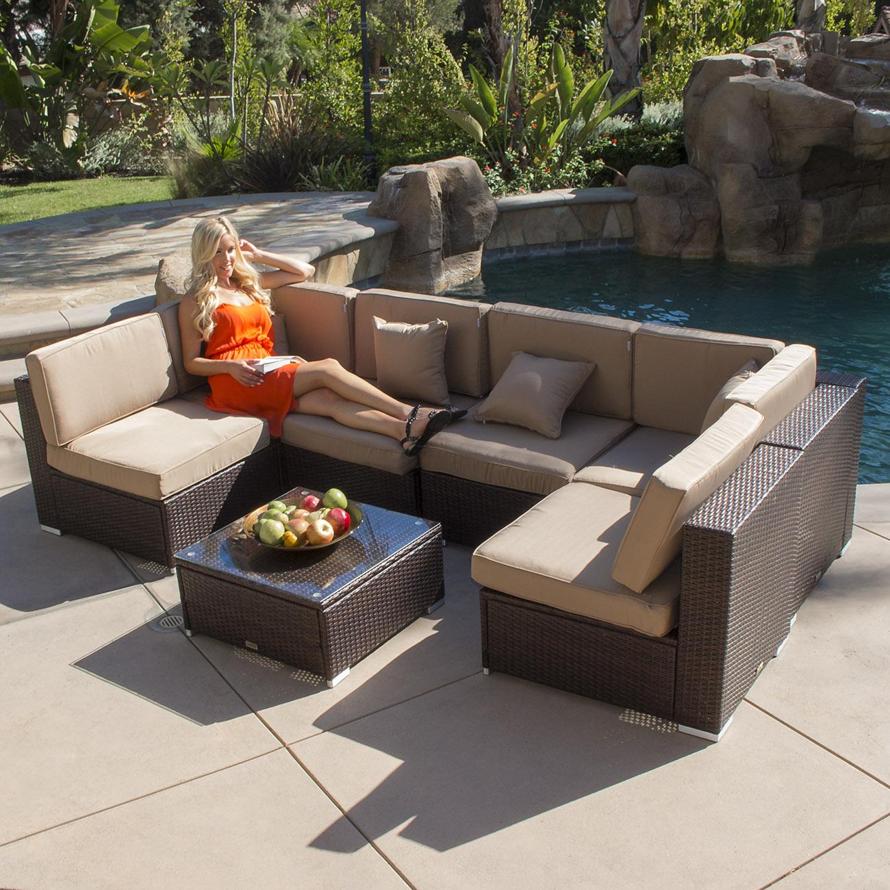 Outdoor Patio Sectional Sofa: 7pc Outdoor Patio Rattan Wicker Furniture Aluminum