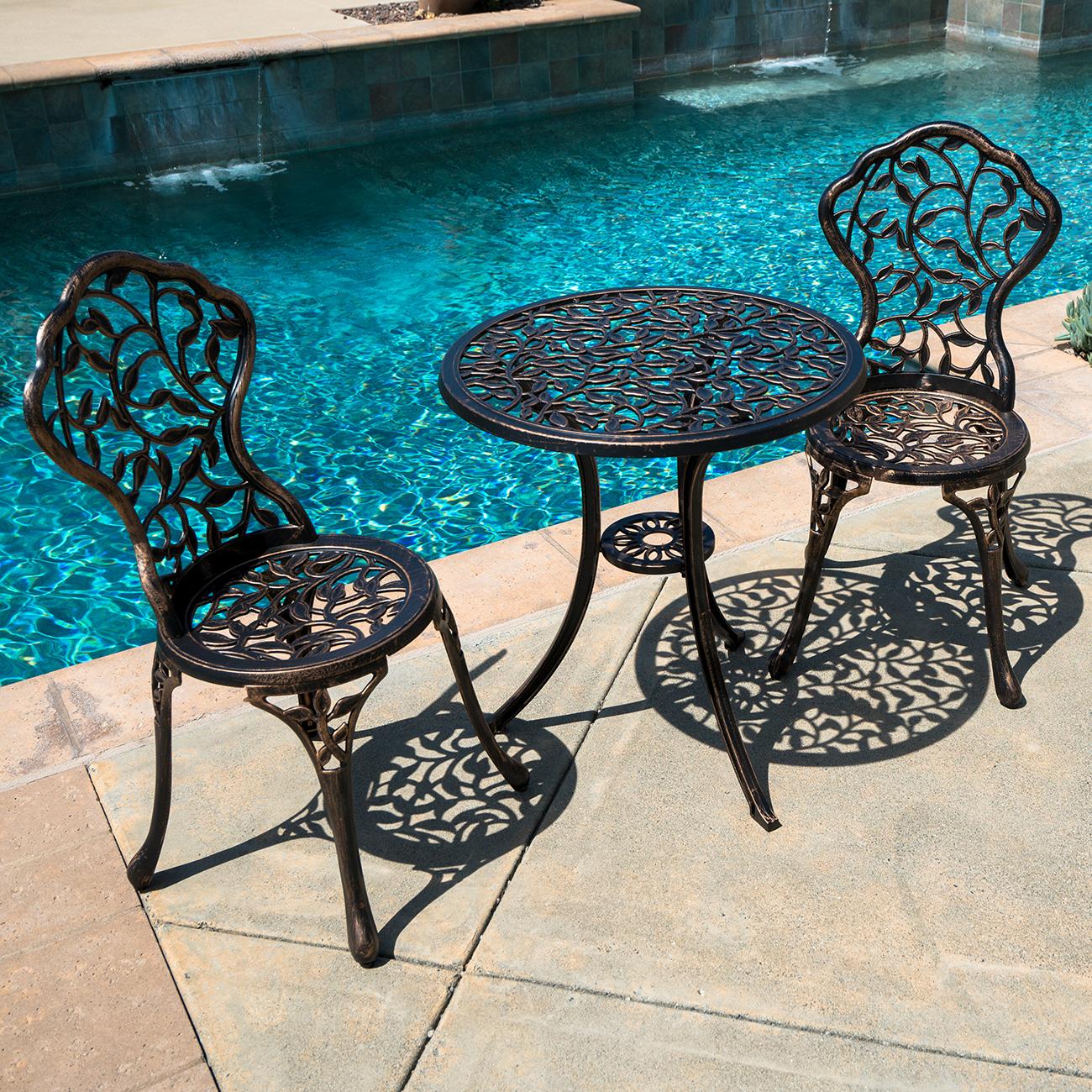 Sensational Details About 3Pc Bistro Set In Antique Outdoor Patio Furniture Leaf Design Cast Aluminum New Download Free Architecture Designs Embacsunscenecom