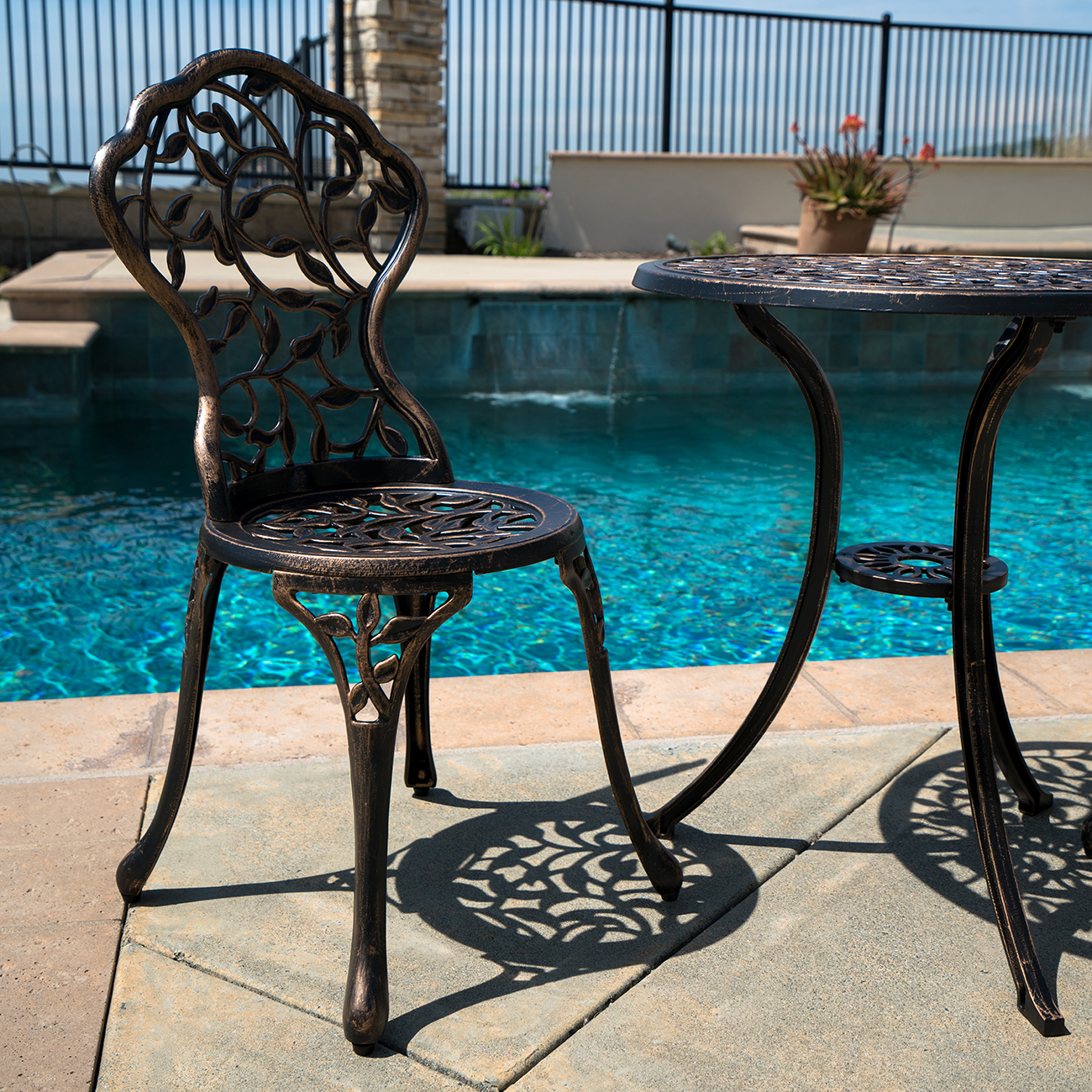 Cast Aluminum Patio Furniture Heart Pattern: 3PC Bistro Set In Antique Outdoor Patio Furniture Leaf