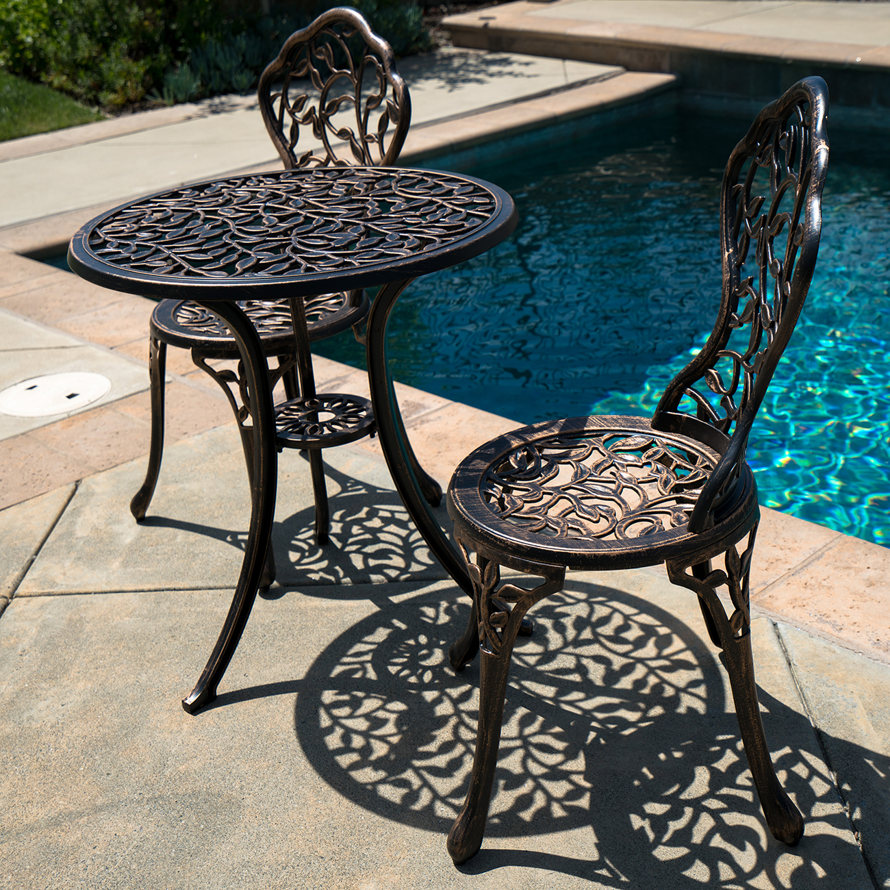3pc Bistro Set In Antique Outdoor Patio Furniture Leaf Design Cast