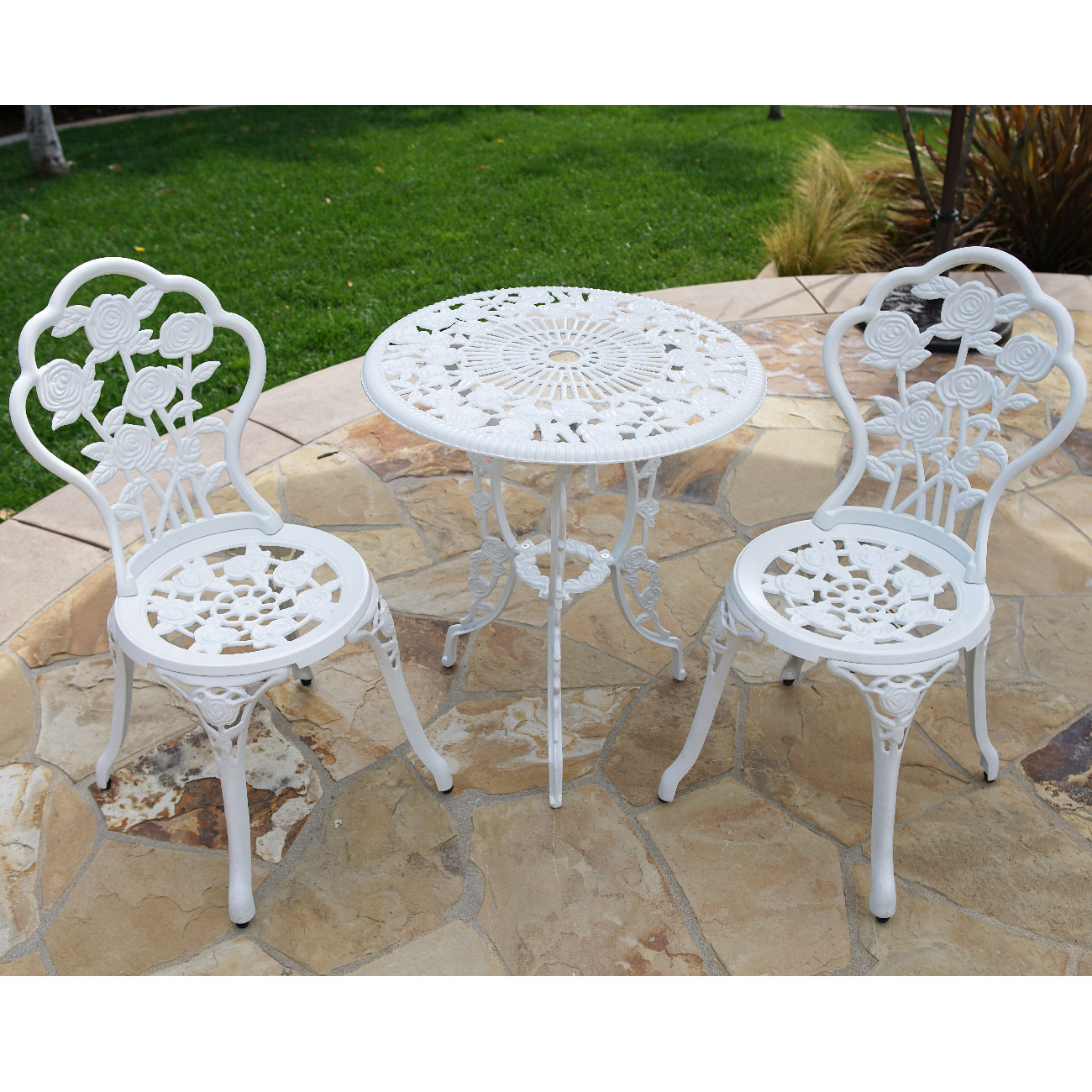 white chairs sets outdoor furniture for small spaces | 3pcs Outdoor Patio Furniture Cast Aluminum Bistro Set ...